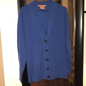 Tory Burch Large Button Simone Cardigan Blue